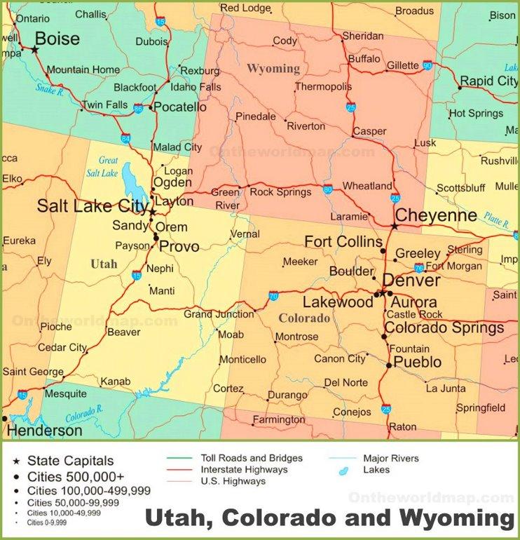 map of utah colorado and wyoming